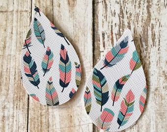 Leather Shapes Earrings Blue, Pink Feather Faux Leather Pleather Shapes Cut Outs Earring Supplies Do It Yourself Craft Jewelry Supplies (2 P