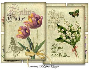 Spring flowers - printable cards - printable gift tags - digital vintage flowers - digital collage sheet - printable download - set of 8
