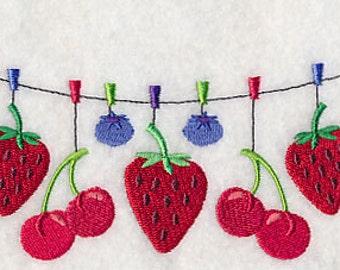 Fresh Berries Clothesline Embroidered Flour Sack Hand/Dish Towel