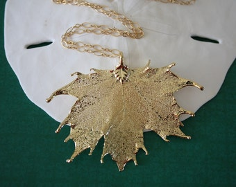 Gold Leaf Necklace, Real Leaf Necklace, Maple Leaf, Gold Maple Leaf, LC20