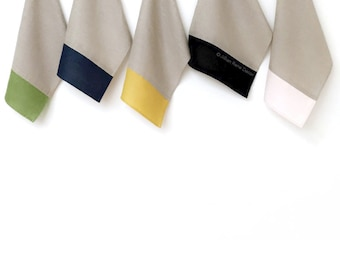 Linen Colorblock Tea Towels - Green, Navy, Yellow, Black or Pink - by JillianReneDecor, Modern Kitchen, Mod, Hostess Gift, Foodie Gift