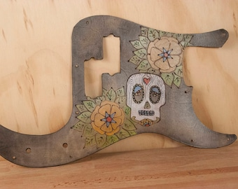 Leather Pickguard - Handmade Guitar Pick Guard for Fender P-bass with Sugar Skull and Flowers - Day of the Dead - Luthier equipment