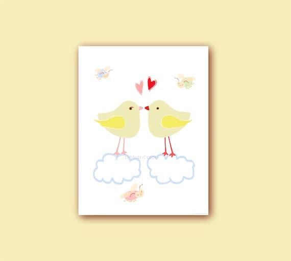 Love Birds Baby Girl Nursery Wall Art Kids Printable Childrens