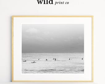 Coastal Art, Surfer Art Prints, Beach Photography Prints, Grey Wall Art, Surf Art, Digital Download, Sea Wall Art, Black and White Prints