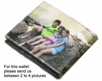 Extra LARGE custom wallet for men made using pictures from you - FREE SHIPPING - gifts for dad boyfriend man personalized images from me