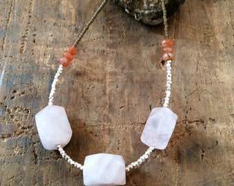 Hill tribe silver, rose quartz and peach moonstone necklace.