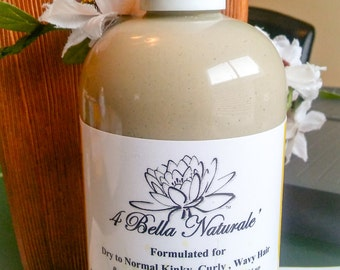Detoxifying Hair  Mud Wash, Handcrafted, Natural Organic, Bentonite Clay, Slippery Elm, Moringa Oil, Flaxseed Oil-  12oz