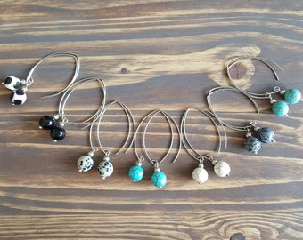 Silver Minimalist Earrings, Hoop Earrings, Statement Earrings, Gemstone Earrings, Boho Earrings, Statement Jewelry, Minimalist Jewelry.