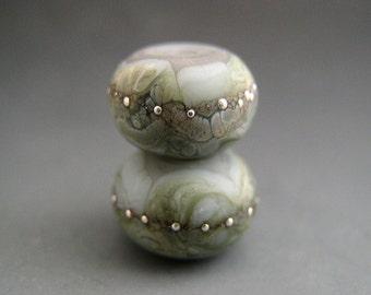 Naos Glass Silver Moss Made To Order Handmade Lampwork Beads SRA Artisan Glass Denim Blue Silver Grayed Jade Pair