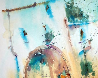 Painting, Aquarell, Watercolor, Music, Kidsroom, Poster, Blue,Picture, Artwork,