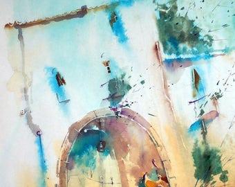"Gemälde, Aquarelle, Wasserfarbe, Malerei, Kunswerk, Musikinstrument, Bild, Poster, Kinderzimmer, Blau, A3-Format, "" Musik"""