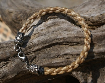 Flaxen Braided Horsehair Bracelet With Hammered Silver Plate Closure