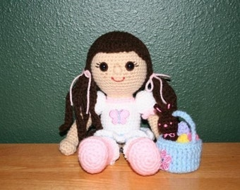 Miss Boots Amigurumi Doll and Easter Basket Crochet Pattern Instant Download