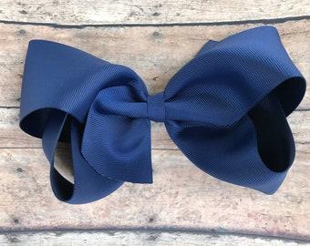 Extra large hair bow - 6 inch hair bows, hair bows, navy blue hair bow, bows, cheer bows, big hair bows, girls hair bows, hairbows, toddler