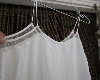 White Halter Tank Top, Both Sides Adorned with Mesh Appliqués, Vintage - Small to Medium