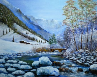 "Painting on canvas ""Stream in winter"""