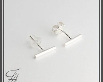 Tiny Silver Bar Earrings, Bar Studs, Sterling Studs, Handmade Studs,Bar Studs, Silver Stick, Everyday Earrings, Line Earrings, 10 x 1.5mm