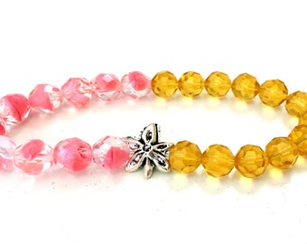 Pink & Yellow Crystal beads with silver detail, stretch bracelet