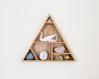 Oak Shelf - Floating Shelf - Triangle Shelf - Geometric - Trinkets - Keepsakes - Curiosity Cabinet - Home Decor - Shelves - Wooden Shelf