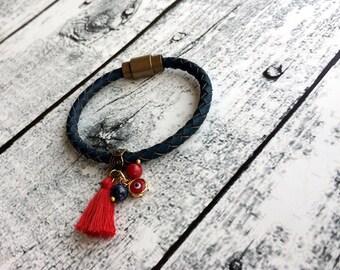 Tassel Bracelet, Evil Eye Bracelet, Leather Boho Bracelet, Tassel Jewelry, Red Bracelet, Magnetic Bracelet, Boho Chic Jewelry, Birthday Gift