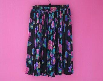 Vintage 80s Colorful Floral Sheer Accordion Pleat Midi Skirt