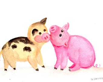 Happy Pigs watercolor painting original, humorous pig animal art happy funny pigs