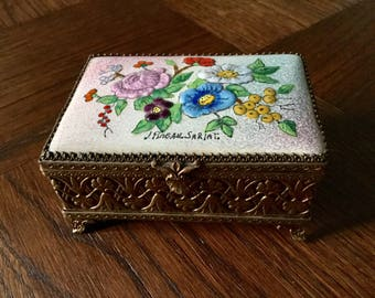 Vintage french ENAMEL BRONZE Box - Artist signed-Art deco France Sarlat - Very Nice - Bronze - Hand-made Unique vintage from France