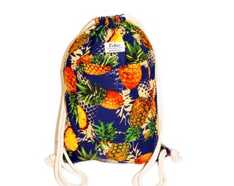 Ochos | Blue Pineapple Design Sack Bag - With Pockets