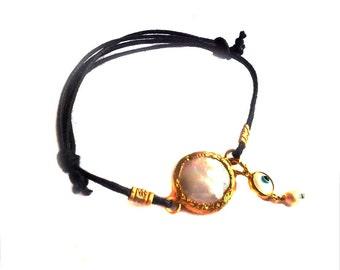 Pearl Bracelet In Sterling silver coated with 18K Gold vermeil, dangling pearl bracelet, black cord bracelet, black and white bracelet
