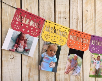 Papel Picado First Year Photo Banner for First Birthday, Fiesta | First Birthday Monthly Photos Banner |  First Fiesta Decorations