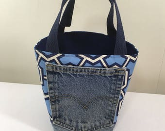 Project Bag, Bucket style, Blue Geometric Pattern, from Upcycled jeans & Upholstery fabric samples