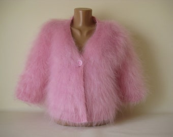 Made to Order Hand knitted Fluffy Soft Mohair  Bolero Sweater Shrug  Pink color