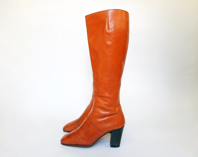 1970s Bandalino Cognac Leather Boots // 70s Vintage Tall Stacked High Heel Boots // Womens Size 6.5 // Eu 36.5