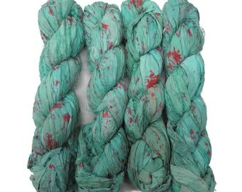 New! Tye dye Sari Silk Ribbon, 100g , Seafoam/Scarlet