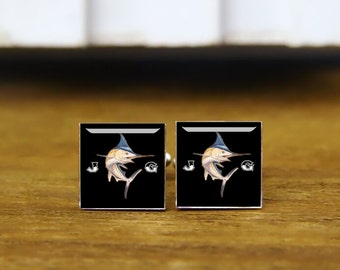 custom marlin cufflinks, sailfish and initial cufflinks & tie clip, custom wedding square cufflinks, customized fish cufflink, wedding date