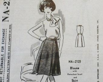 Spadea Vintage Designer Pattern Larry Aldrich Blouse, Scarf & Skirt 1960's