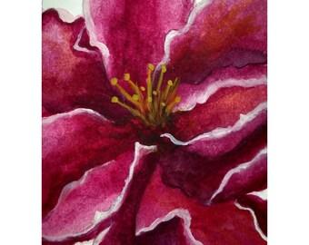 Original ACEO Miniature Watercolor,  Garden, Flower home décor, ACEO flowers, pink purple décor