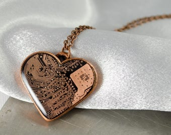 Copper Circuit Board Heart Necklace, Love Necklace, Valentine Gift, Engineer Gift, Geeky Heart Jewelry, Motherboard Jewelry, Gift for Her