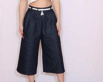 Navy denim culottes High waist Wide leg pants Shorts with pockets Blue denim capris Custom clothing