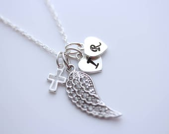 Wing necklace, custom necklace, choose initial and/or birthstone. Mothers necklace, lost loved one