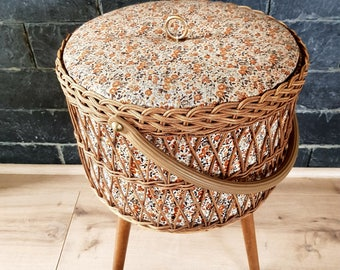 Worker tripod worker tripod box vintage rattan sewing box