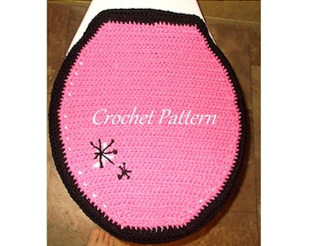 Crochet Pattern, Toilet Seat Cover, Commode Lid Cover, Retro Hot Pink, Bathroom Crochet, Bath Pattern, Downloadable