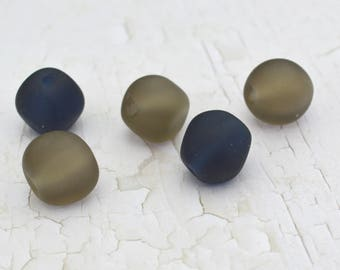 Handmade Lampwork Glass Beads - 'Etched Navy and Grey Chunky nugget set - SRA