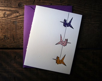 Letterpress Printed String of Cranes Card (Violet-Red-Orange) - single