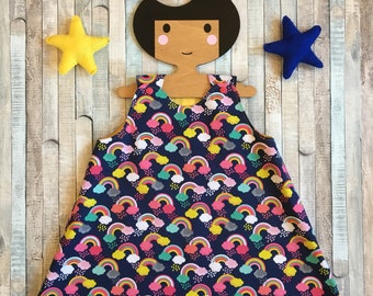 Baby Girls dress~Size 18 to 24 months~Baby dress~Rainbow dress~Cotton dress~Baby girls swing dress~Girls summer dress~Baby summer dress