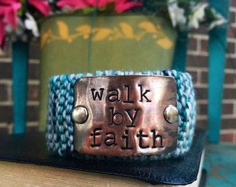 Hand Stamped Christian Bracelet, Walk by Faith, Blue Knit Cuff Bracelet, Jewelry for Women