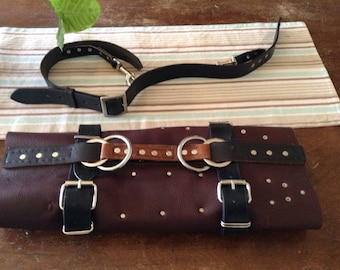 Chefs leather knife roll