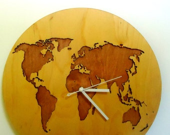 "World map, WALL CLOCK 15.7""Diameter, Modern, Laser Cut, Big wall clocks, Wooden wall clock,Large wall clock,Decorative wall clocks, Wooden"