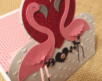 Flamingo birthday Card, Personalized, Love, Anniversary, Wedding,  For your Sweetheart or Best Friend.
