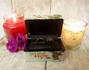 Luxury Wedding Ring Box - Alice , Double Ring Box , Ring Bearer Box , Alice In Wonderland Wedding